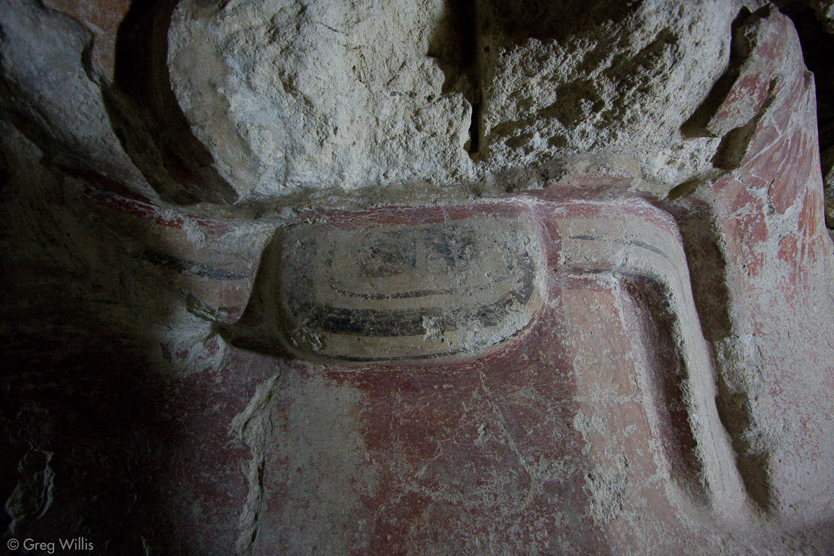 Old temple beneath the Jaguar Paw Temple, detail of mask