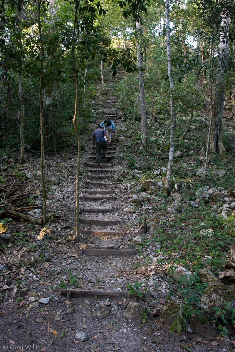 Stairs up the north pyramid at Tintal